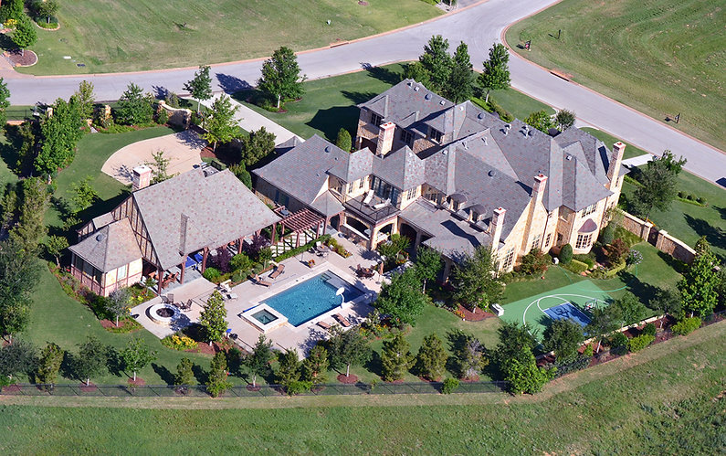 Beautiful landscape design by THPritchett/Associates aerial view