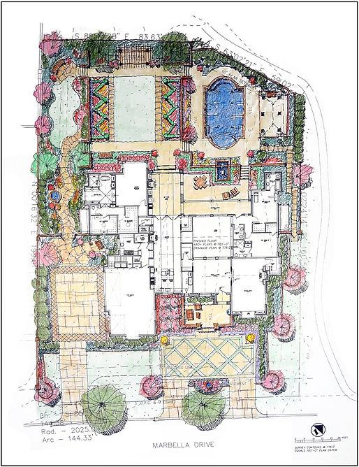 Landscape design plan drawing by landscape architect Tom Pritchett