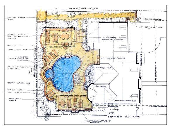 Pool design plans drawn by landscape architect Tom Pritchett