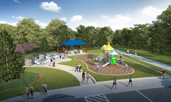 Aspen Meadows playground andscape design plan computer rendering by landscape architect Tom Pritchett