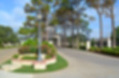 Beautiful residential community entrance gate and landscape design by T.H.Pritchett/Associates