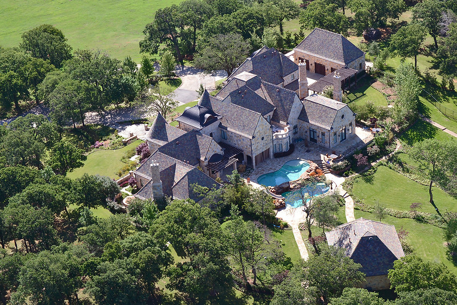 Aerial view large estate landscape design by THPritchett/Associates