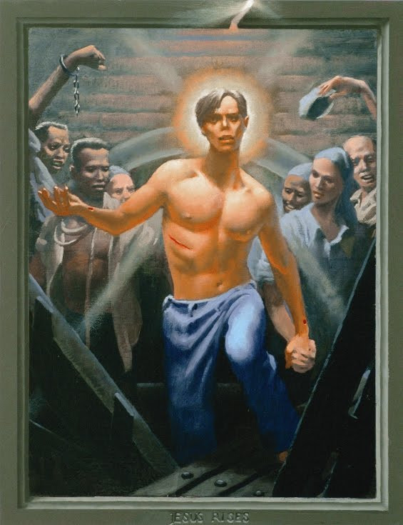 A handsome young Christ in blue jeans holds hands with a prisoner as he steps upward, leading the captives to freedom