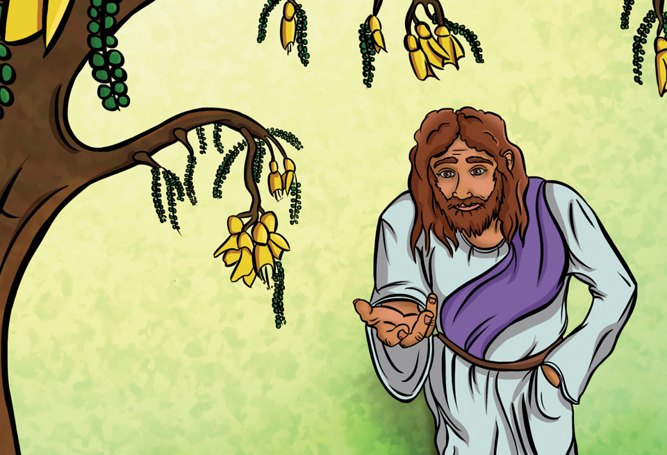Jesus looks up at a tree with an outstretched hand, een from the viewpoint of Zaccheus.