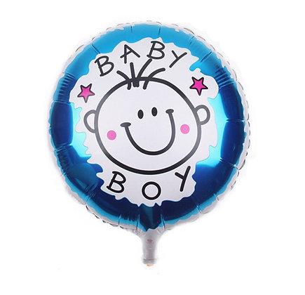 Baby Boy Doodle Round Shape Foil Balloon