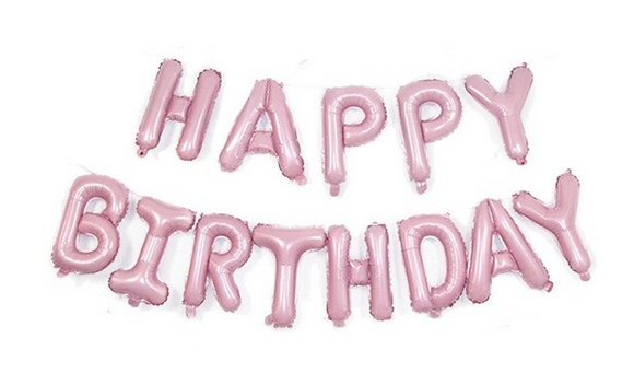 Happy Birthday Set Pink Foil Balloon