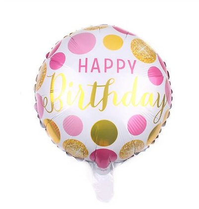 Balon Foil Happy Birthday Pink Gold Confetti