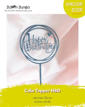 Black Happy Birthday Cake Topper