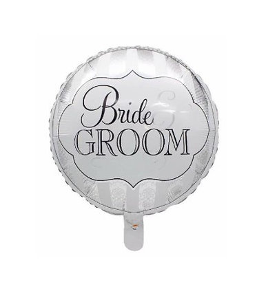 Balon Foil Bride & Groom Round Shape
