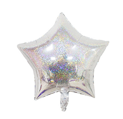 Holographic Silver Star Foil Balloon