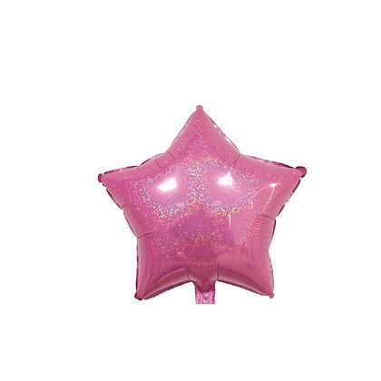 Balon Foil Bintang Hologram Pink