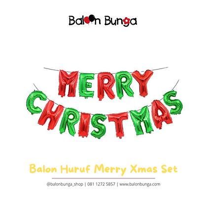 Balon Huruf Set Merry Christmas