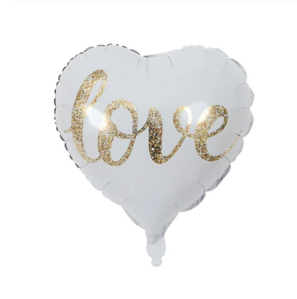 Love Gold Letter Heart Shaped Foil Balloon