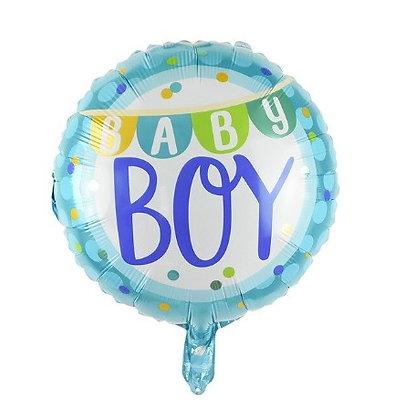 Baby Boy Bunting Flag Round Shape Foil Balloon