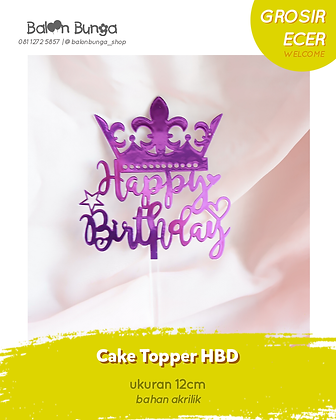 Crown Happy Birthday Cake Topper