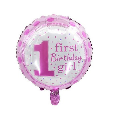 1st B'day Girl Round Shape Foil Balloon