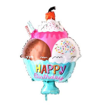 Balon Foil Ice Cream Cup Happy Birthday