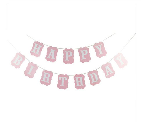 Bunting Happy Birthday Pink Vintage Shape