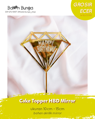 Diamond Acrylic Happy Birthday Cake Topper