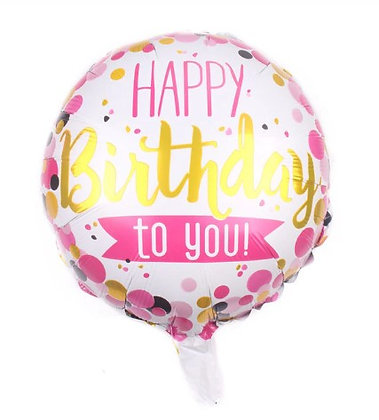 Balon Foil Happy Birthday Pink Gold Black Confettil