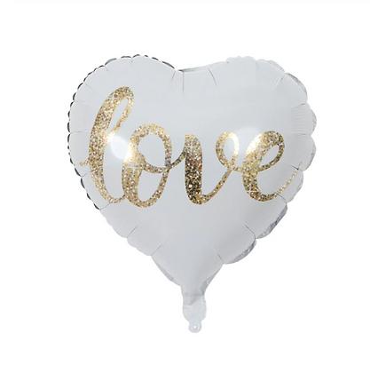 Gold Love Brush Letter Love Shaped Foil Balloon