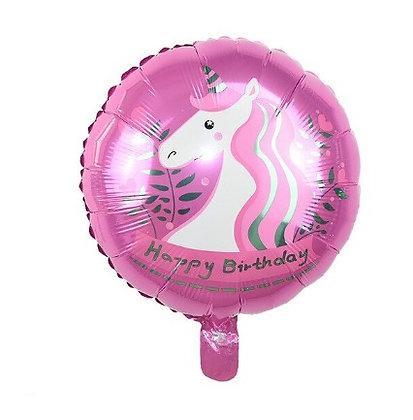 Balon Foil Happy Birthday Unicorn Pink