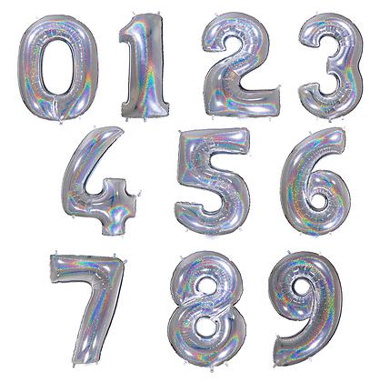 Balon Angka Hologram Silver 40cm