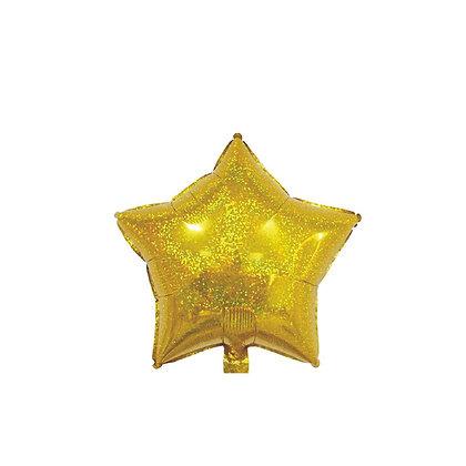 Balon Foil Bintang Hologram Gold