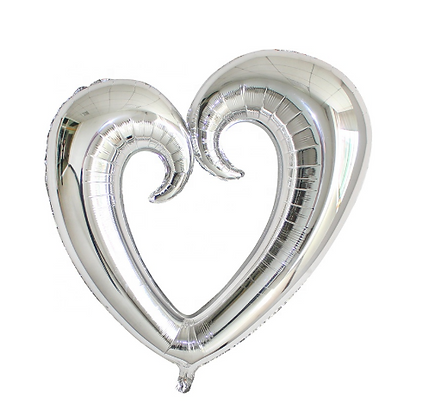Hollow Heart Shape Silver Foil Balloon