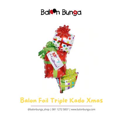 Balon Foil Kado Tumpuk Natal