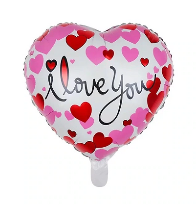 Heart Printed I Love You Love Shaped Foil Balloon