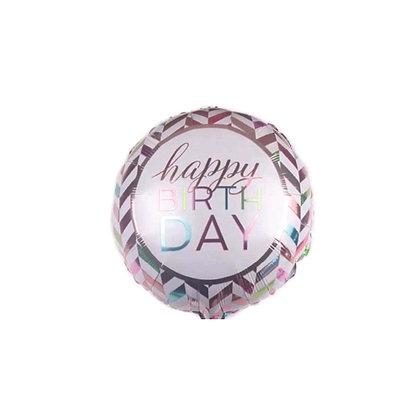 Balon Foil HBD Zigzag Silver Gold
