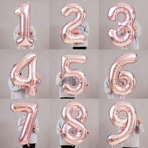 Rose Gold Number Balloons 60cm