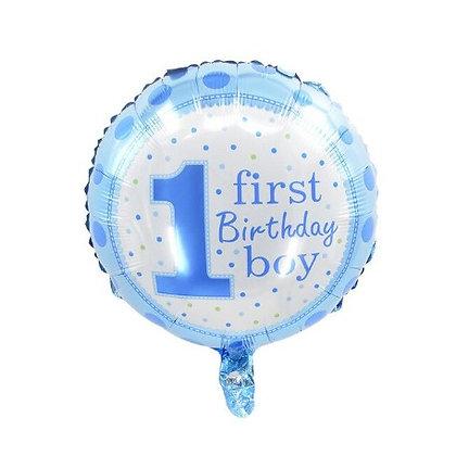 1st B'day Boy Round Shape Foil Balloon