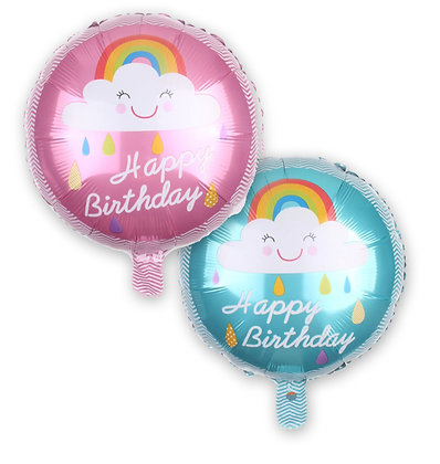 Cloud Rainbow Birthday Round Shape