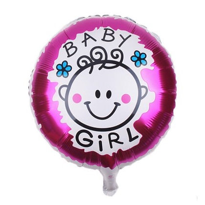 Baby Girl Doodle Round Shape Foil Balloon