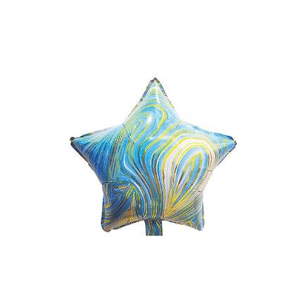 Balon Foil Bintang Marble Biru