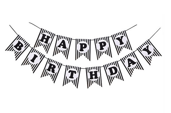 Bunting Happy Birthday Black Strip