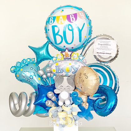 Bouquet Foil Balloon with Doll