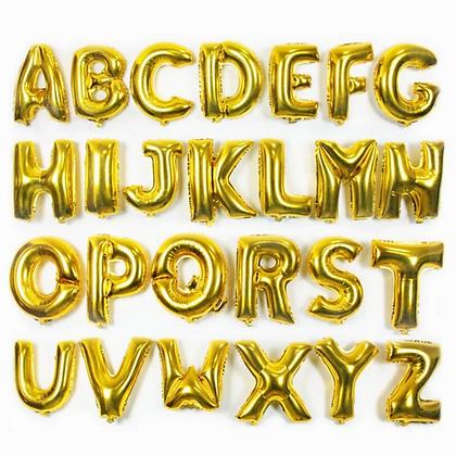 Balon Huruf Gold 40cm