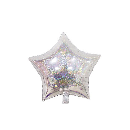 Balon Foil Bintang Hologram Silver