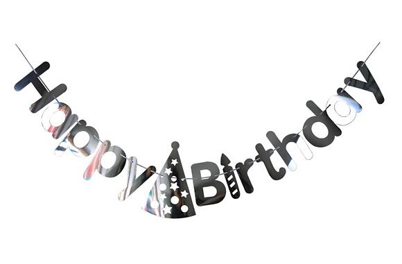 Bunting Happy Birthday Silver Laser Cut