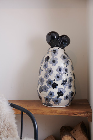 large pot with striped flowers h. 75cm stoneware with cobalt