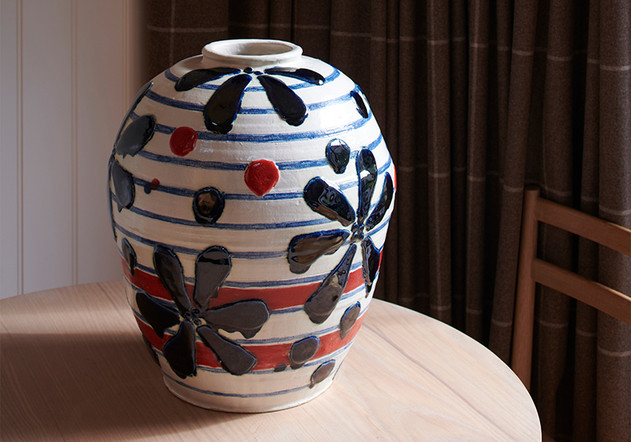 large jar with red  h. 55cm  stoneware with cobalt and red