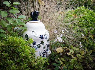 large pot with green flowers h. 75cm stoneware with cobalt and copper
