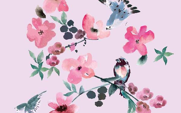 Bird and Flower watercolour Illustration by Vicky Faulkner Design