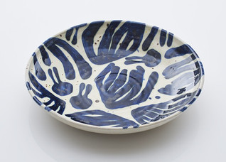 large patterned bowl  Ø. 40cm  stoneware with cobalt