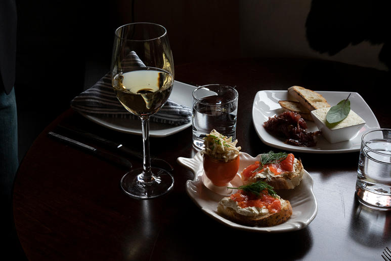 House made Cured Gravlax and Fomage Blanc at Remedy Wine Bar VT