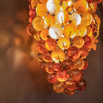 Grape lamp close up at Vermonts Remedy Wine bar