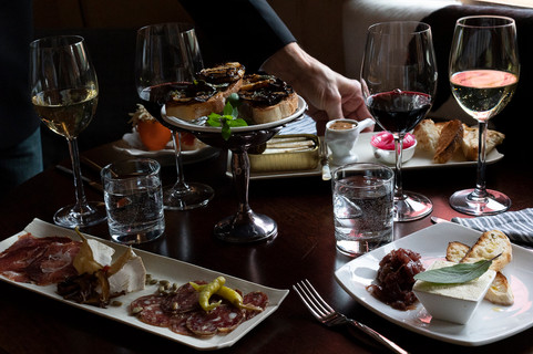 Wine and cheese platters and tapas at private party